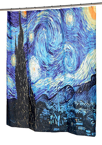 Van Gogh The Starry Night Shower Curtains Famous Painting Bathroom Decor