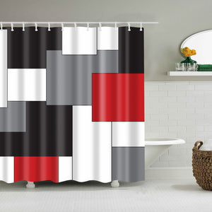 Vertical Stripes Mid Century Shower Curtain