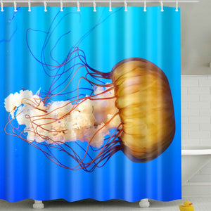 Vibrant Color Jellyfish Fabric Shower Curtain