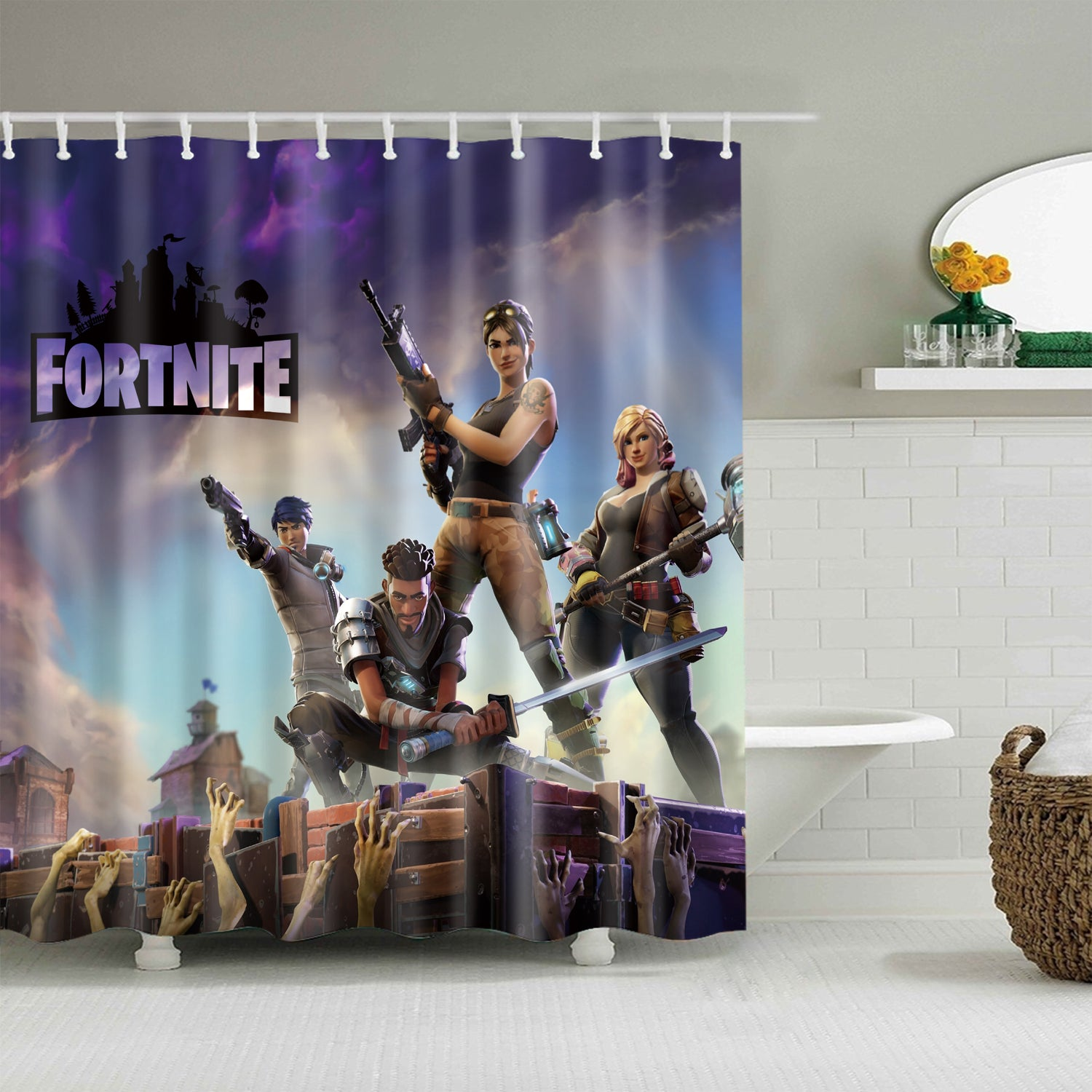 Video Game Kids Fortnite Disaster Shower Curtain