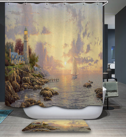 Village Lighthouse Boat Painting Shower Curtain