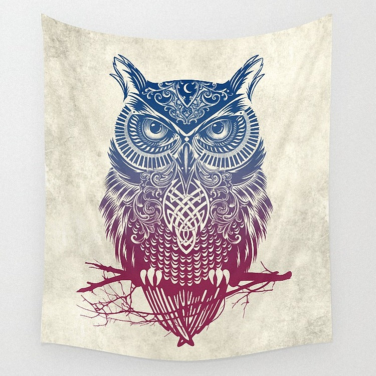 Vintage Tribal Marsala Tree Owl Tapestry