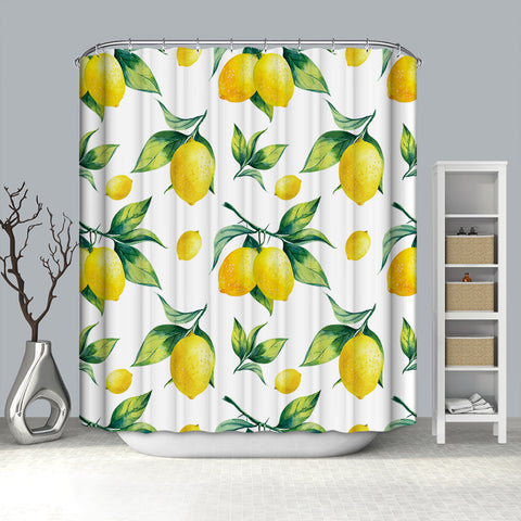 Vintage Watercolor Seamless Fruit Painting Green Branch Leaves Floral Lemon Shower Curtain