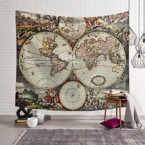 Vintage Ancient Medieval World Map Mural Atlas Tapestry