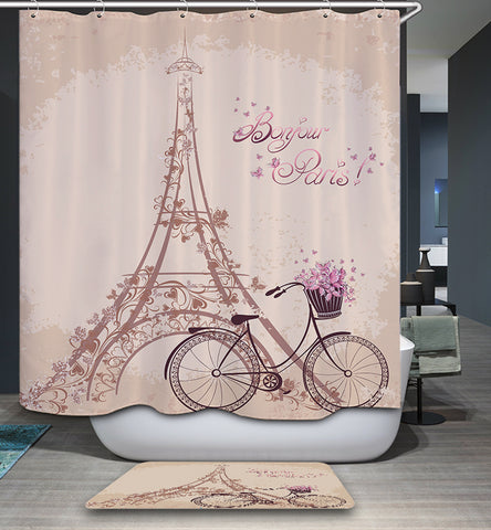 Cortina de ducha Vintage Bonjour Paris Eiffel Tower Girly Pink Pastel