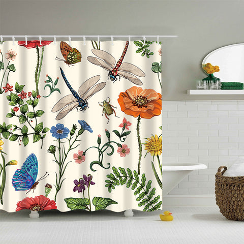 Vintage Botanical Insects with Flowers Beetles Nature Plants Shower Curtain