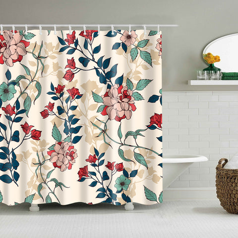 Vintage Botanical Romantic Rose Floral Foliage Shower Curtain