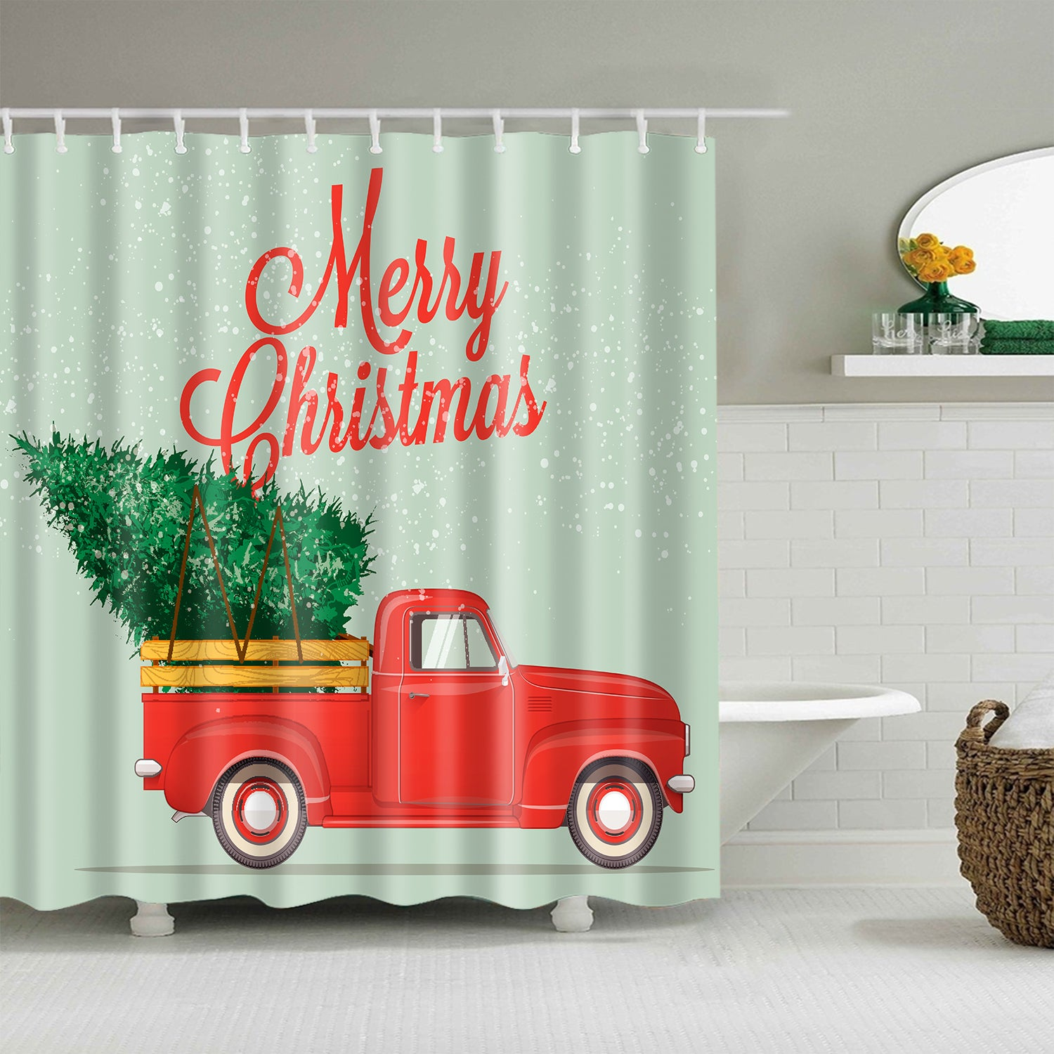 Vintage Christmas Retro Pickup Truck With Christmas Tree Shower Curtain