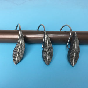 Vintage Chrome 12pcs Rings Leaves Leaf Shower Curtain Hooks