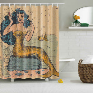 Vintage Coast Mermaid Shower Curtain