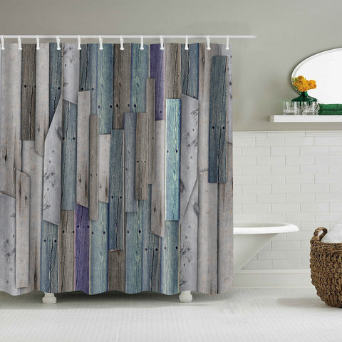 Vintage Colorful Wood Plank Barn Door Shower Curtain