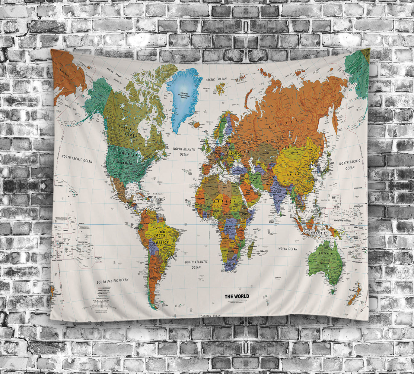 Vintage Colorful World Map Tapestry