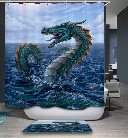 Vintage Drawn Water Sea Dragon Shower Curtain