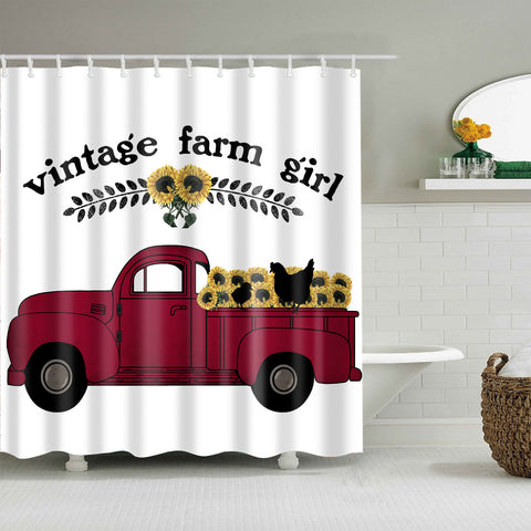 Vintage Farm Style Animal Sunflower Red Truck Farmhouse Girl Shower Curtain