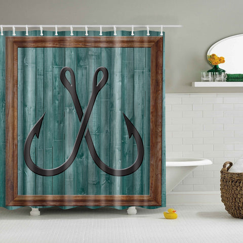 Vintage Fishhook Wood Mural Print Shower Curtain
