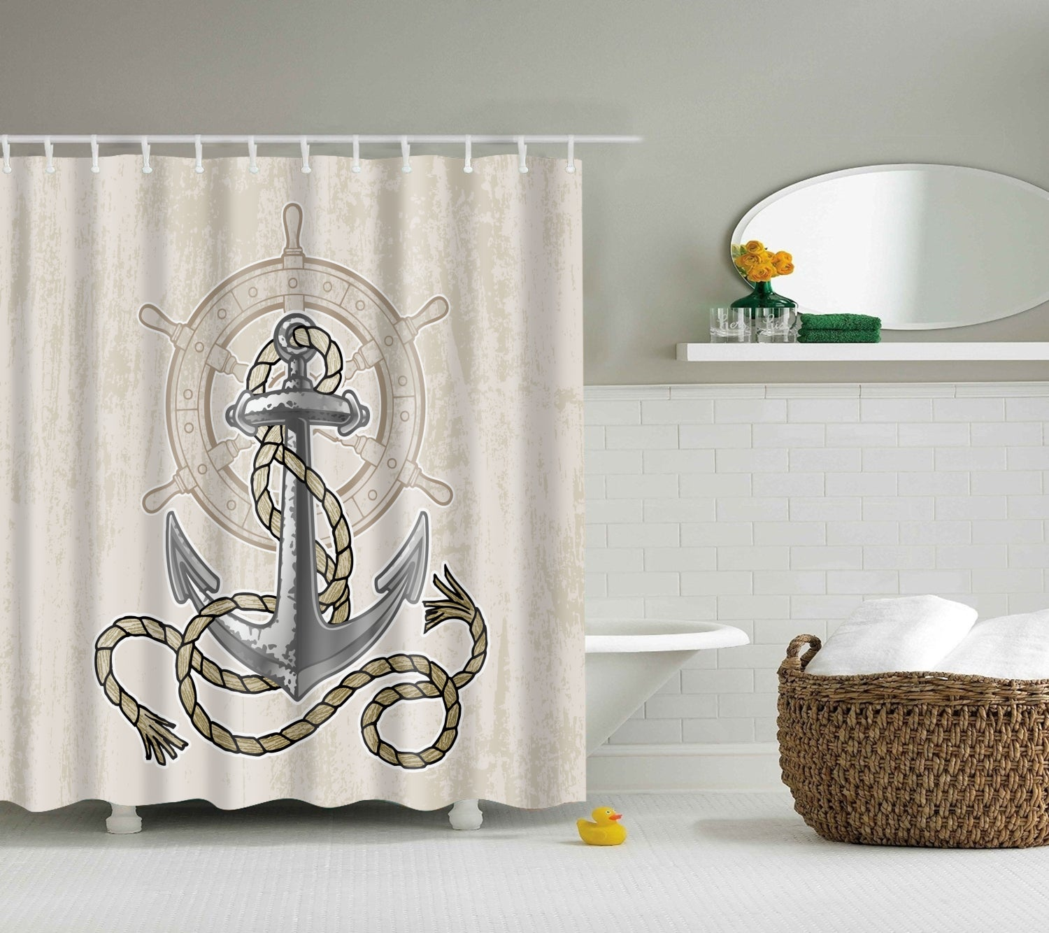 Vintage Nautical Rudder Anchor Shower Curtain