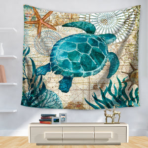 Vintage Ocean Map Sea Turtle Tapestry