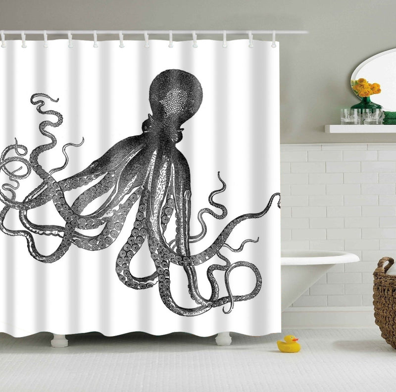 Vintage Octopus Shower Curtain Black and White Bath Decor | GoJeek