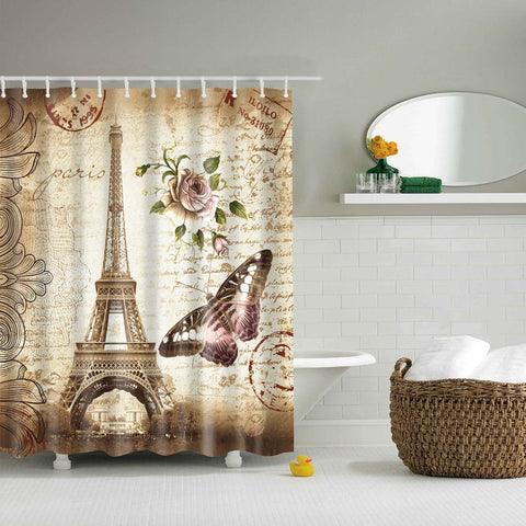 Vintage Paris Eiffel Tower e Butterfly Shower Curtain | GoJeek