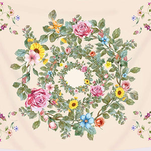 Vintage Peach Color Romantic Floral Wreath Tapestry