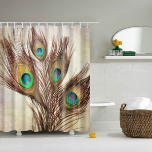 Vintage Peacock Feather Wall Art Shower Curtain