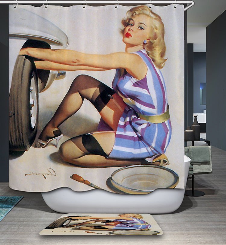 Vintage Pinup Girl Change Tires Shower Curtain