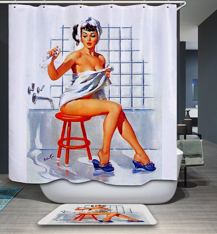 Vintage Pinup Girl in Bathroom Shower Curtain