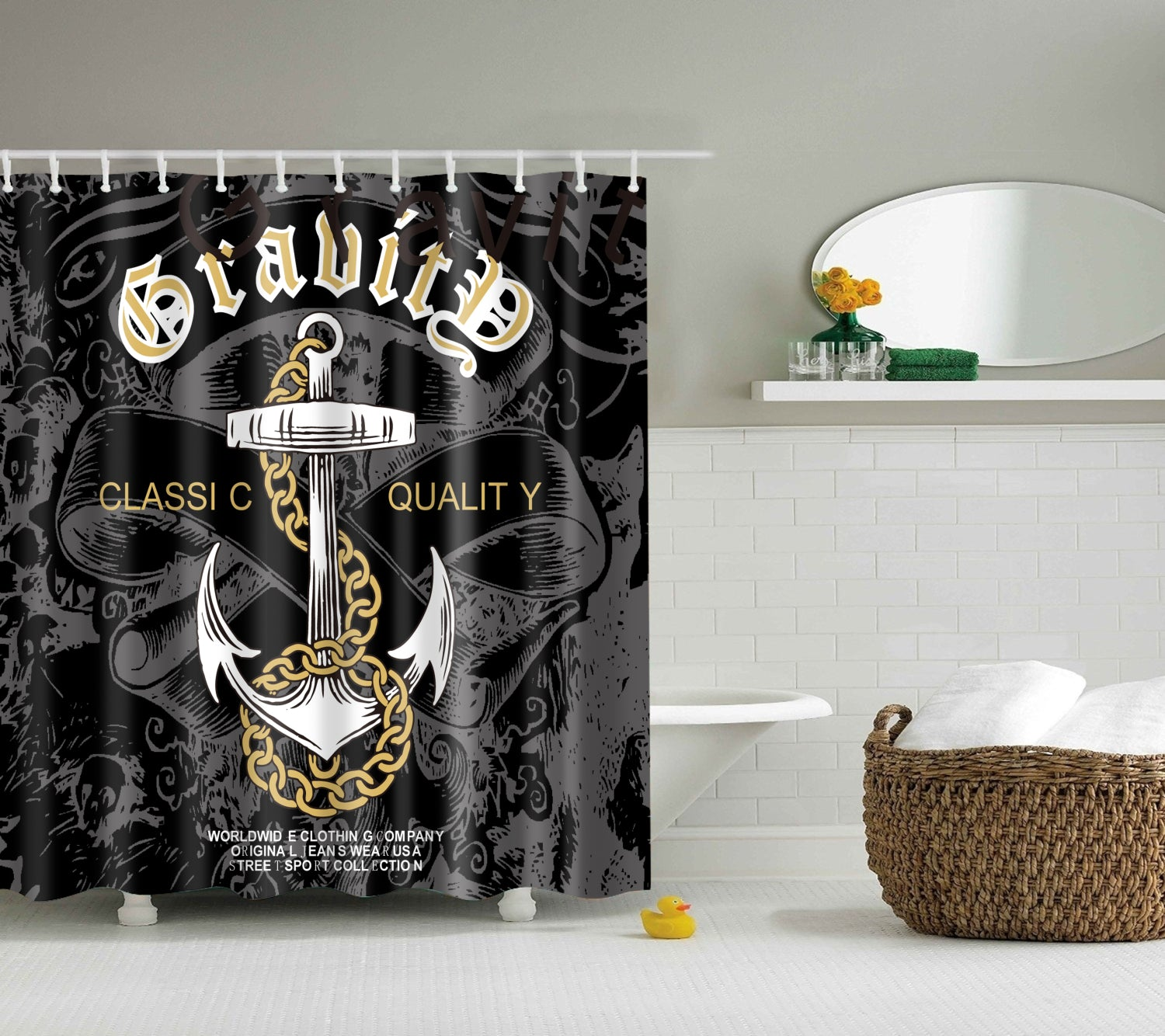 Vintage Punk Anchor Shower Curtain | GoJeek