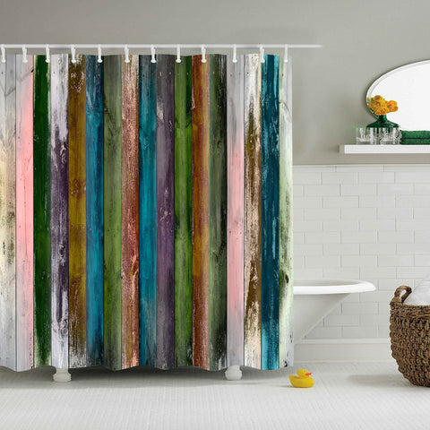 Vintage Rainbow Color Print Woodgrain Shower Curtain