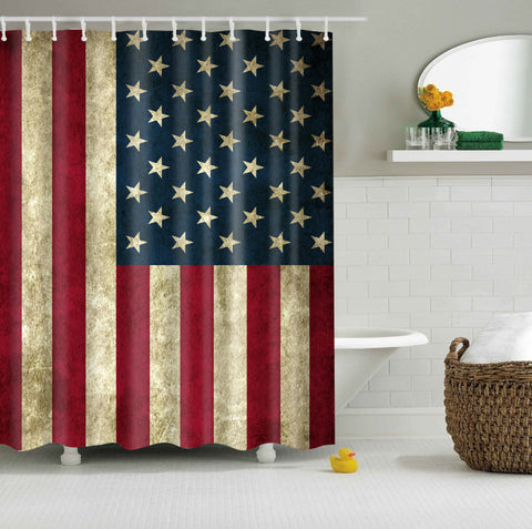 Vintage Rustic 4 de julio American Flag Shower Cortina , GoJeek