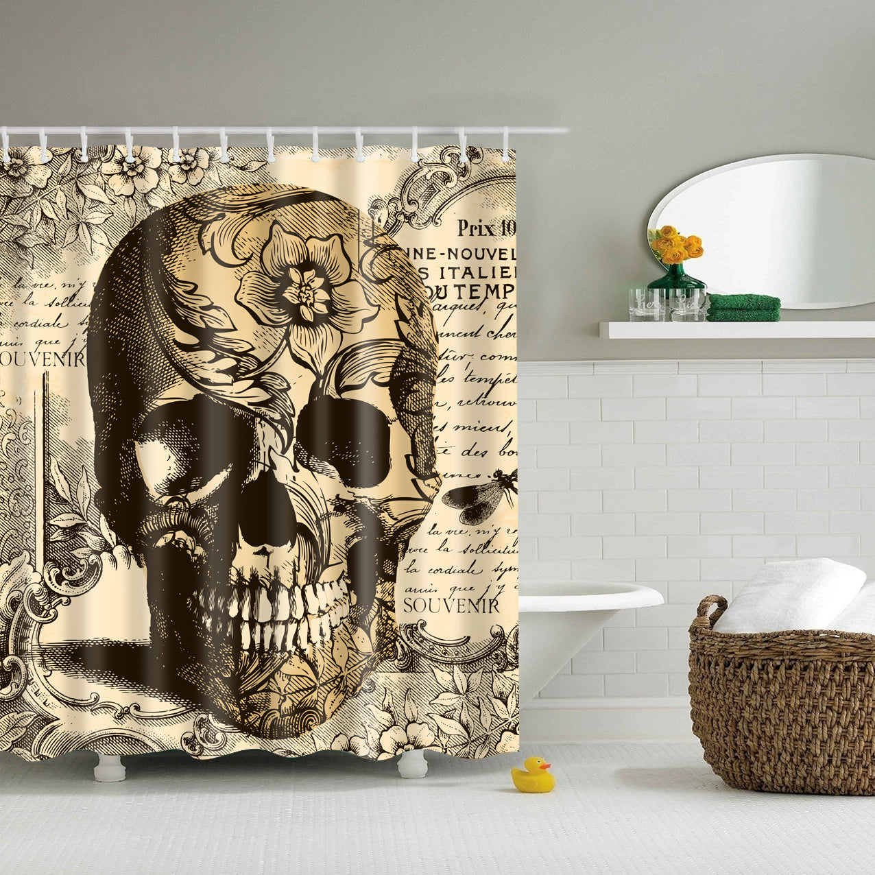 Vintage Skull background Shower Curtain