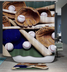 Vintage Sport Gear Baseball Shower Curtain