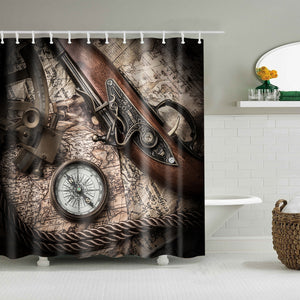 Vintage Still Life with Compass Sextant and Old Map Shower Curtain
