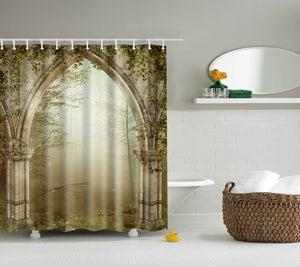 Vintage Stone Wall Arched Doorway Shower Curtain