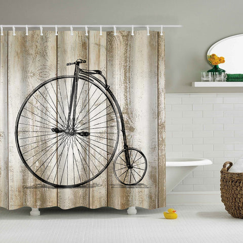 Vintage Wood Print Bicycle Shower Cortina de la cortina GoJeek
