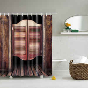 Vintage Woodgrain Door Print Shower Curtain