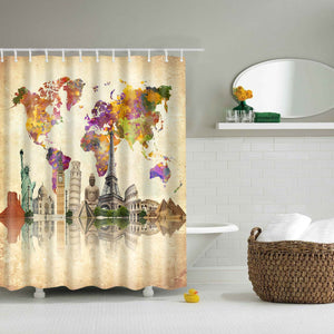 Vintage Worldwide Historical Sites Map Shower Curtain | GoJeek