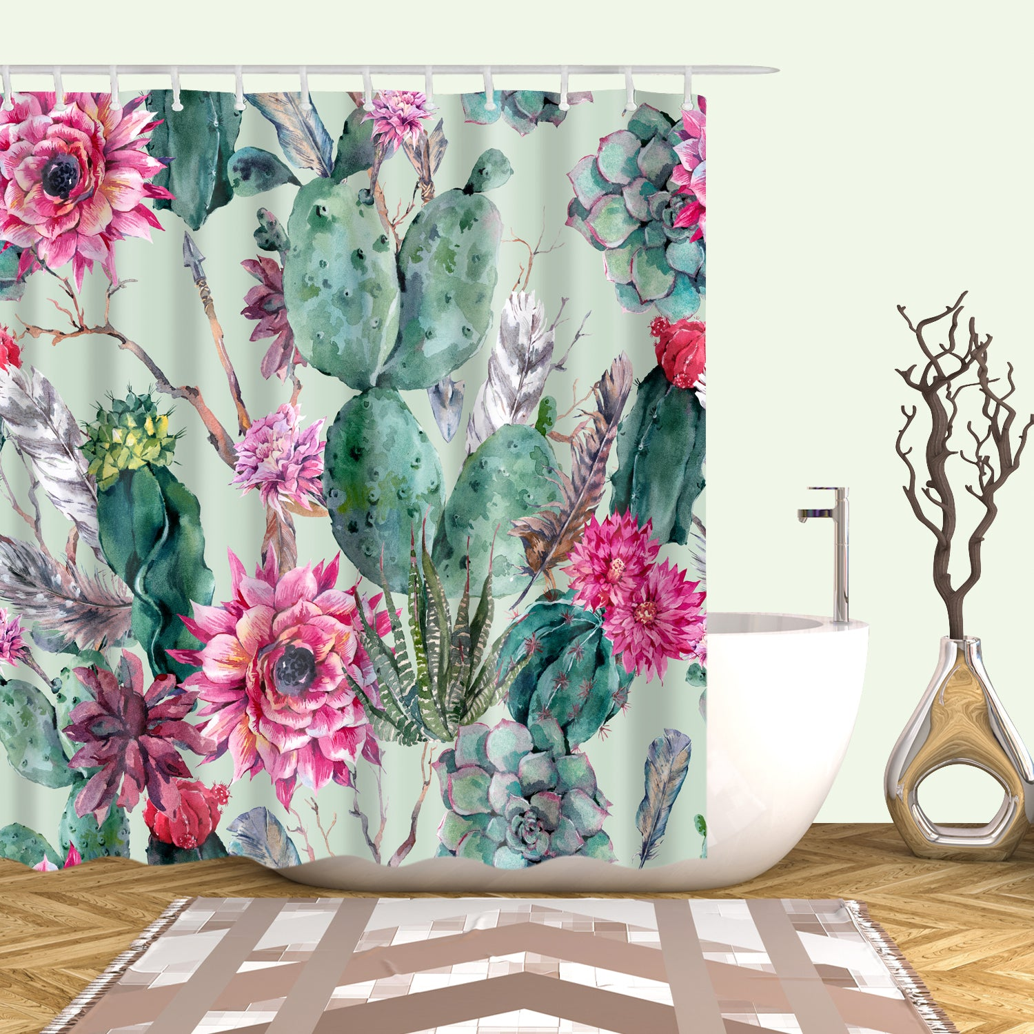 Vivid WaterColor Cactus with Floral Shower Curtain