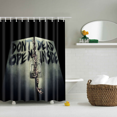Walking Dead Do Not Open Inside Scary Shower Curtain | GoJeek