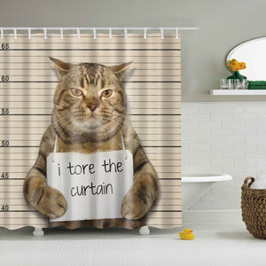 Wanted Cat Mug Shot Shower Curtain | GoJeek