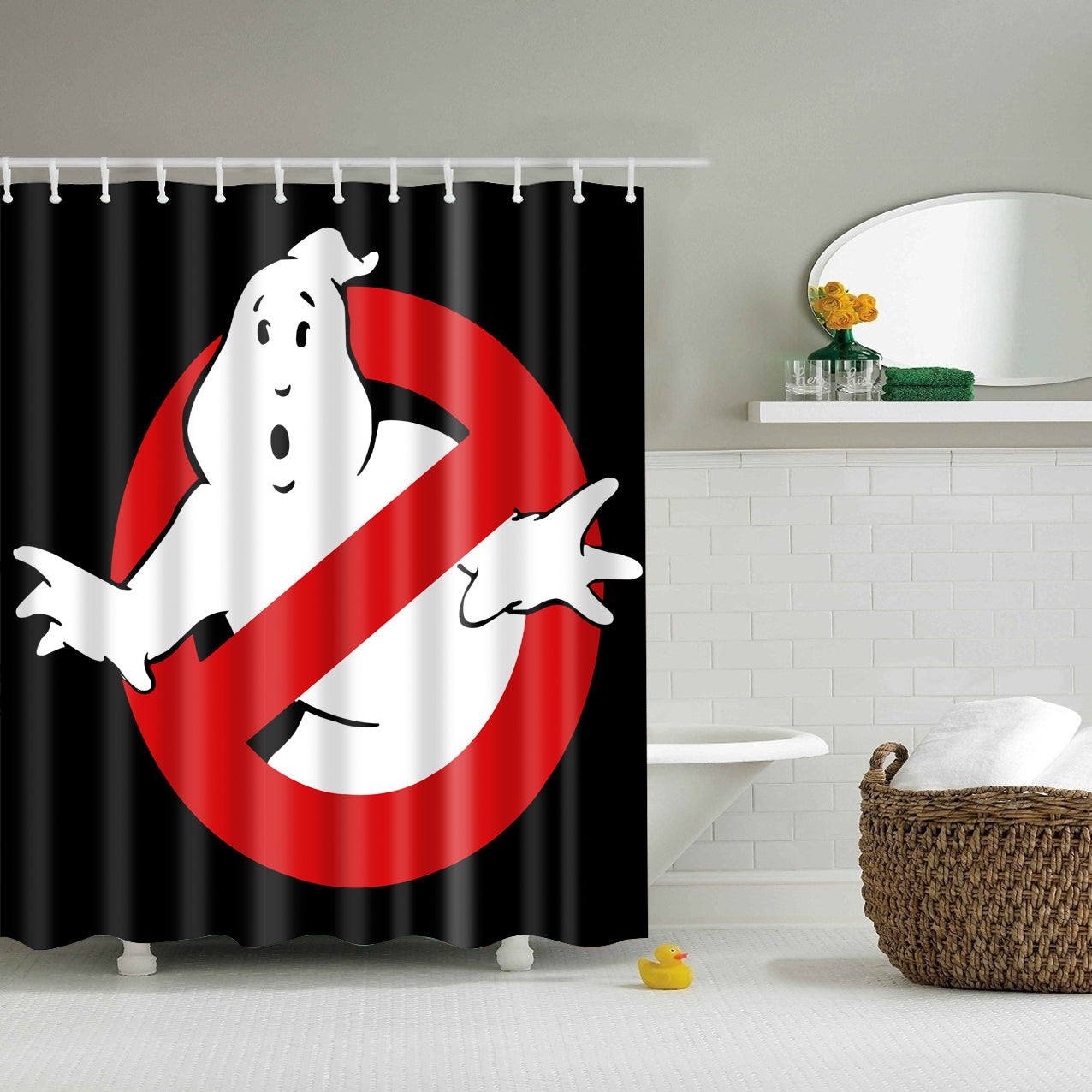 Warning Ghostbusters Print Shower Curtain | GoJeek
