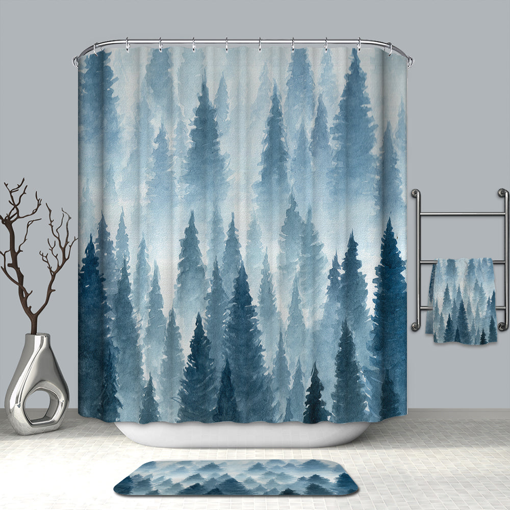 Watercolor Blue Spruce Fir Tree Mist Forest Shower Curtain