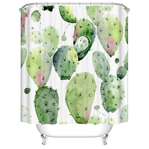 Watercolor Green Desert Spiny Plant Tropical Cati Flowers Mexican Cactus Shower Curtain