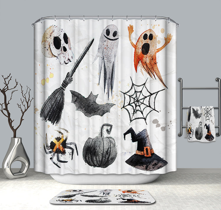 Watercolor Holiday Party Spooky Halloween Elements Shower Curtain