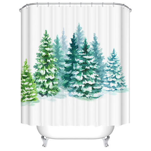 Watercolor Painting White Backdrop Green Xmas Trees in Forest Christmas Tree Shower Curtain