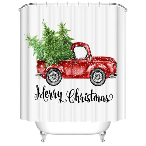Watercolor Snowy Carrying Xmas Trees Retro Red Christmas Truck Shower Curtain