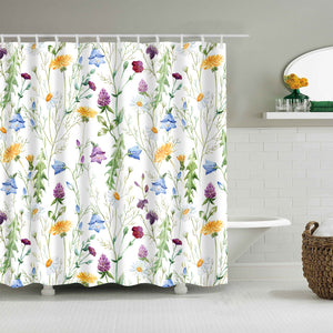 Watercolor Wildflower Daisy Chamomile Clover Shower Curtain