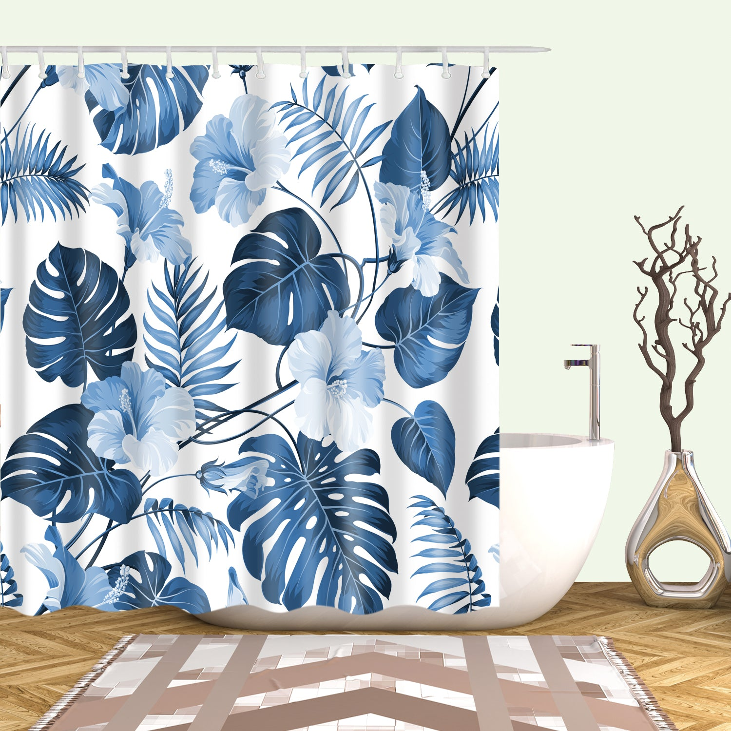 Watercolor Blue Monstera Shower Curtain