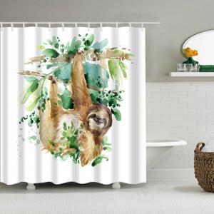 Watercolor Drawing Tropical Hanging Sloth Shower Curtain