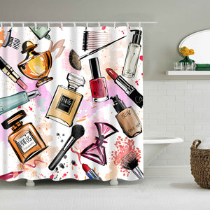 Watercolor Girl Cosmetics and Perfumes Shower Curtain